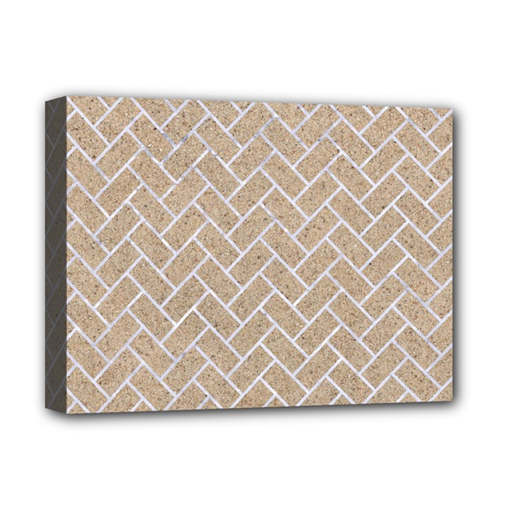 BRICK2 WHITE MARBLE & SAND Deluxe Canvas 16  x 12