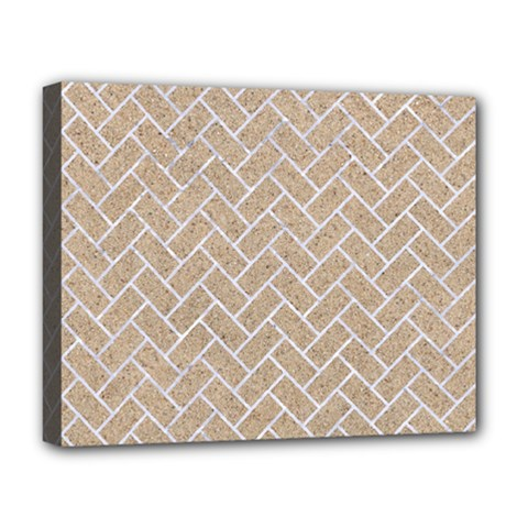 BRICK2 WHITE MARBLE & SAND Deluxe Canvas 20  x 16