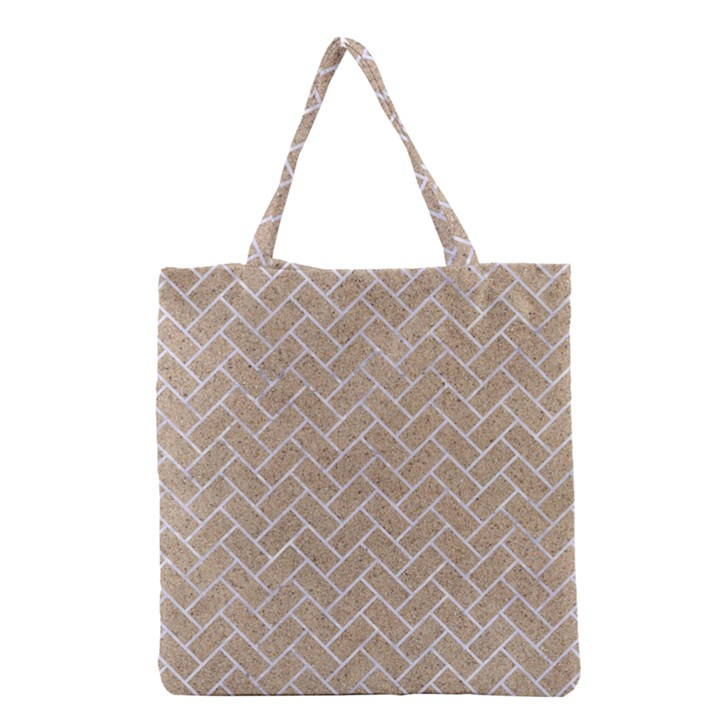 BRICK2 WHITE MARBLE & SAND Grocery Tote Bag