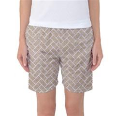 BRICK2 WHITE MARBLE & SAND Women s Basketball Shorts