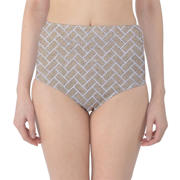 BRICK2 WHITE MARBLE & SAND High-Waist Bikini Bottoms