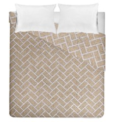 BRICK2 WHITE MARBLE & SAND Duvet Cover Double Side (Queen Size)
