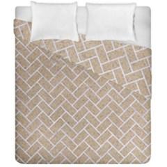 BRICK2 WHITE MARBLE & SAND Duvet Cover Double Side (California King Size)
