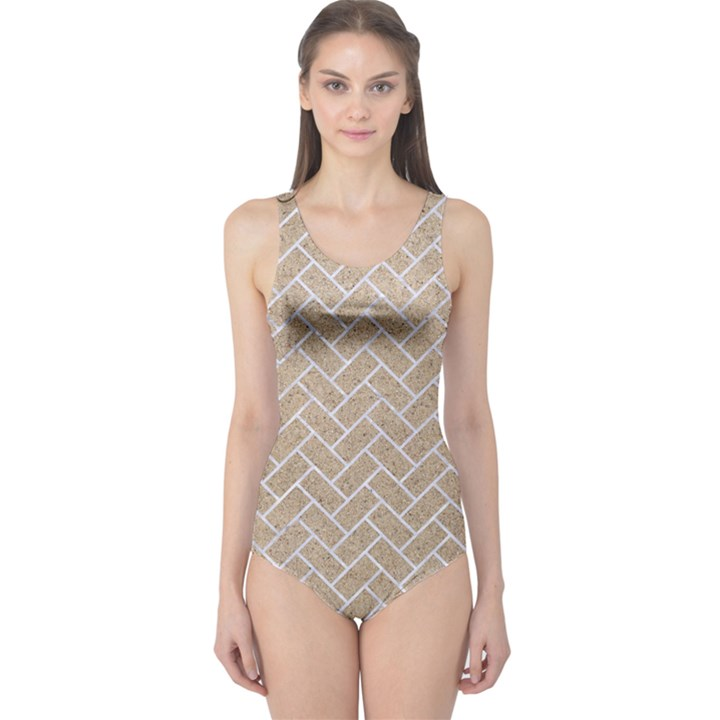 BRICK2 WHITE MARBLE & SAND One Piece Swimsuit