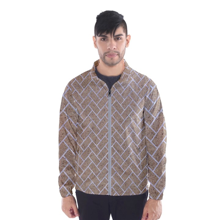 BRICK2 WHITE MARBLE & SAND Wind Breaker (Men)