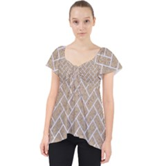 BRICK2 WHITE MARBLE & SAND Lace Front Dolly Top