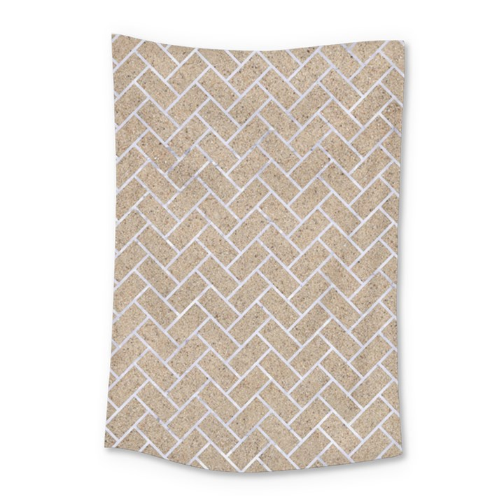 BRICK2 WHITE MARBLE & SAND Small Tapestry