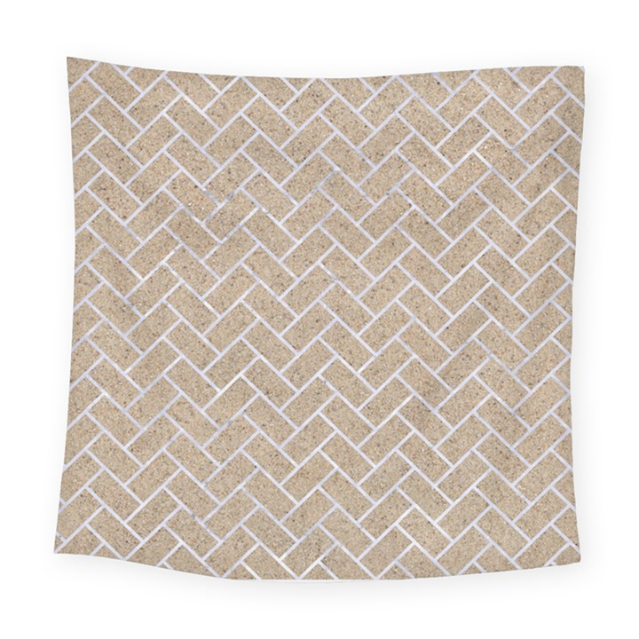 BRICK2 WHITE MARBLE & SAND Square Tapestry (Large)