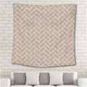 BRICK2 WHITE MARBLE & SAND Square Tapestry (Large) View2