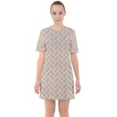 BRICK2 WHITE MARBLE & SAND Sixties Short Sleeve Mini Dress