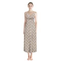 BRICK2 WHITE MARBLE & SAND Button Up Chiffon Maxi Dress