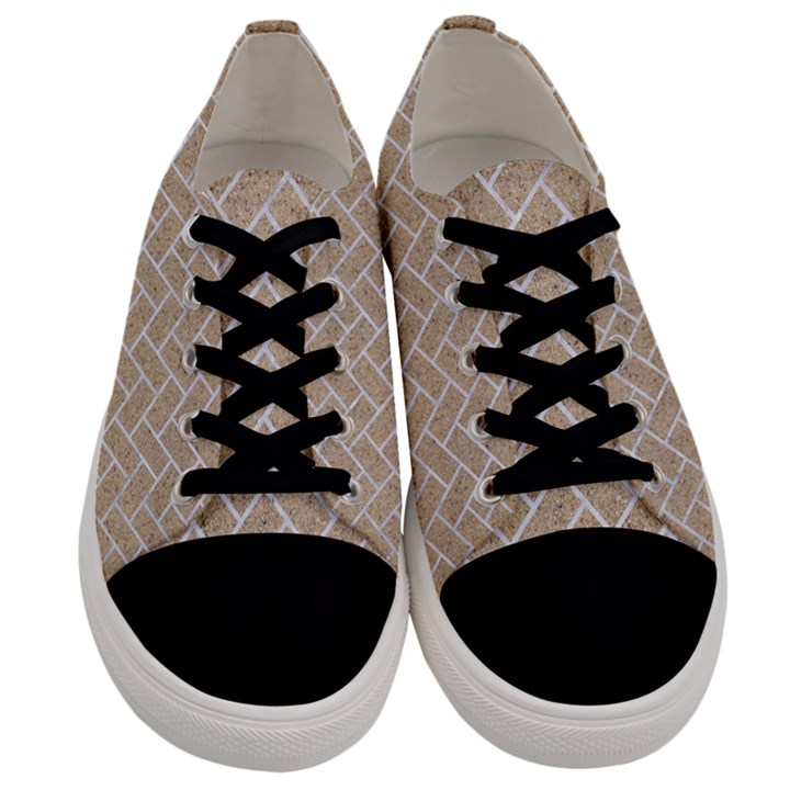 BRICK2 WHITE MARBLE & SAND Men s Low Top Canvas Sneakers
