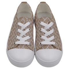 Brick2 White Marble & Sand Kids  Low Top Canvas Sneakers