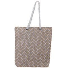 Brick2 White Marble & Sand Full Print Rope Handle Tote (large) by trendistuff