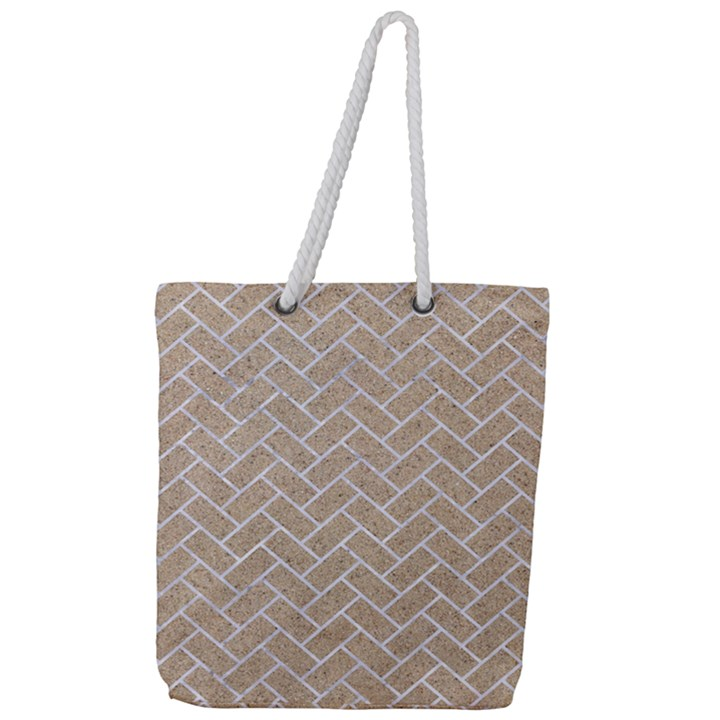 BRICK2 WHITE MARBLE & SAND Full Print Rope Handle Tote (Large)