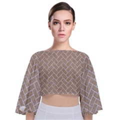 BRICK2 WHITE MARBLE & SAND Tie Back Butterfly Sleeve Chiffon Top