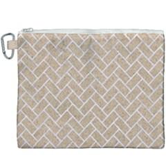 Brick2 White Marble & Sand Canvas Cosmetic Bag (xxxl)