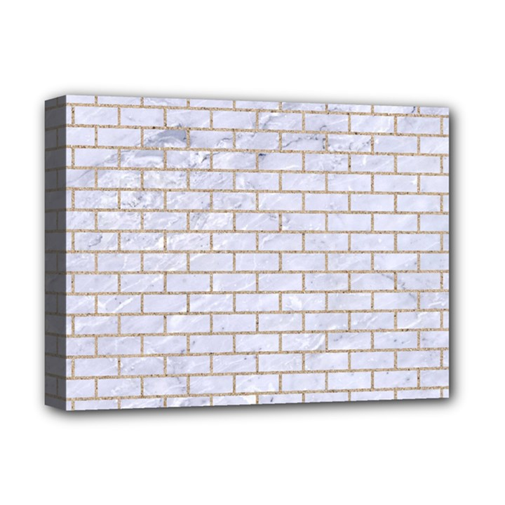 BRICK1 WHITE MARBLE & SAND (R) Deluxe Canvas 16  x 12
