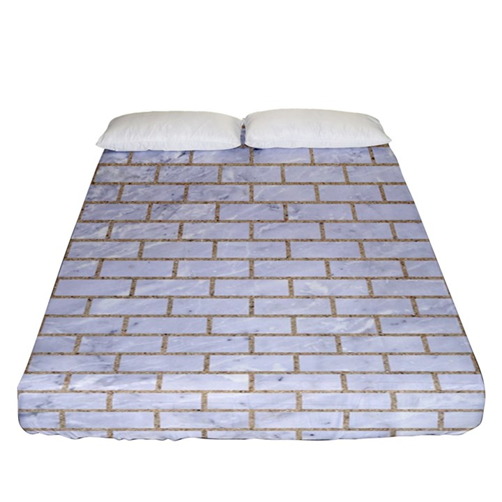 BRICK1 WHITE MARBLE & SAND (R) Fitted Sheet (Queen Size)