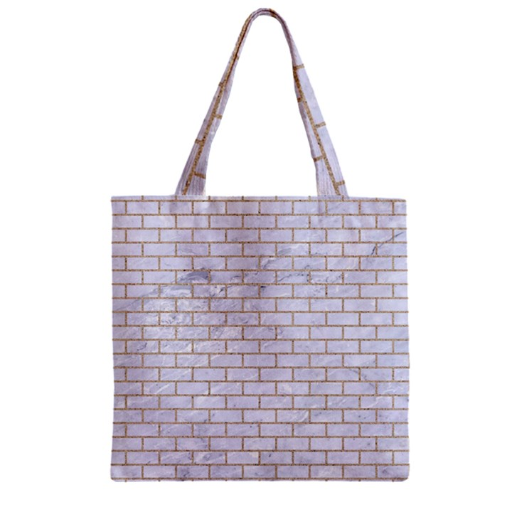 BRICK1 WHITE MARBLE & SAND (R) Zipper Grocery Tote Bag