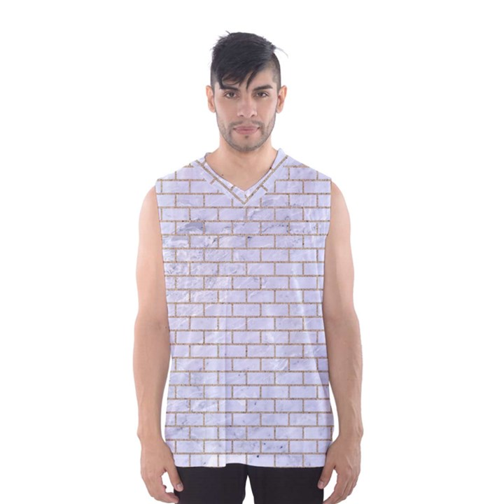 BRICK1 WHITE MARBLE & SAND (R) Men s Basketball Tank Top