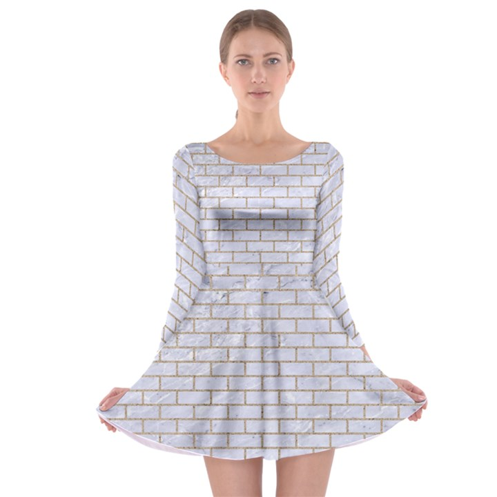 BRICK1 WHITE MARBLE & SAND (R) Long Sleeve Skater Dress