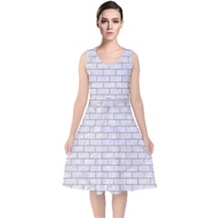 Brick1 White Marble & Sand (r) V Neck Midi Sleeveless Dress
