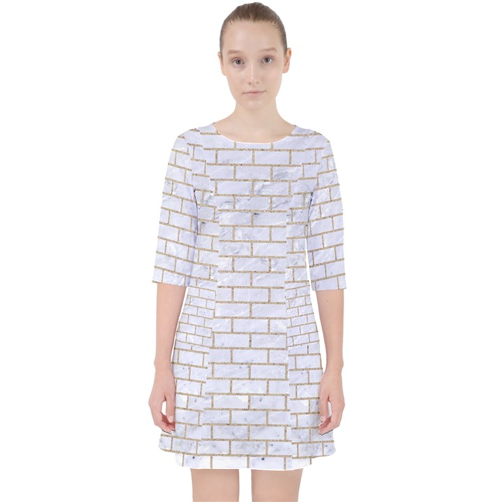 BRICK1 WHITE MARBLE & SAND (R) Pocket Dress