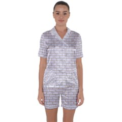 Brick1 White Marble & Sand (r) Satin Short Sleeve Pyjamas Set