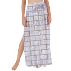 Brick1 White Marble & Sand (r) Maxi Chiffon Tie Up Sarong