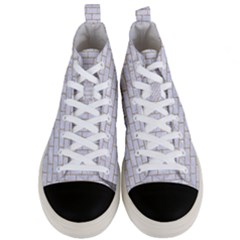 Brick1 White Marble & Sand (r) Men s Mid Top Canvas Sneakers