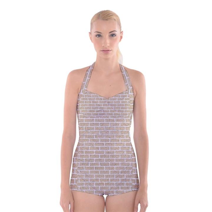 BRICK1 WHITE MARBLE & SAND Boyleg Halter Swimsuit