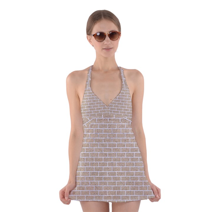 BRICK1 WHITE MARBLE & SAND Halter Dress Swimsuit