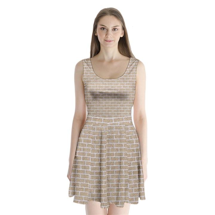 BRICK1 WHITE MARBLE & SAND Split Back Mini Dress