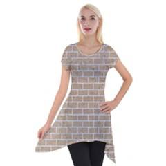 Brick1 White Marble & Sand Short Sleeve Side Drop Tunic