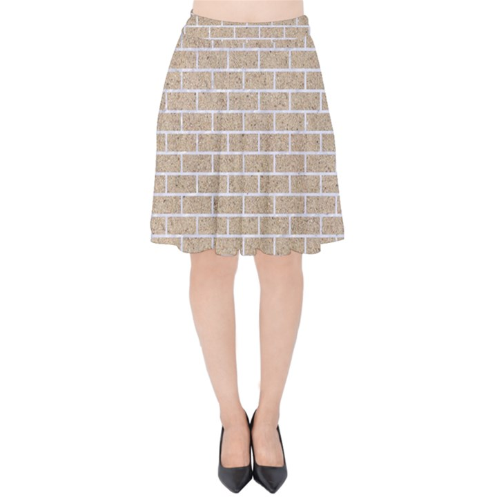 BRICK1 WHITE MARBLE & SAND Velvet High Waist Skirt