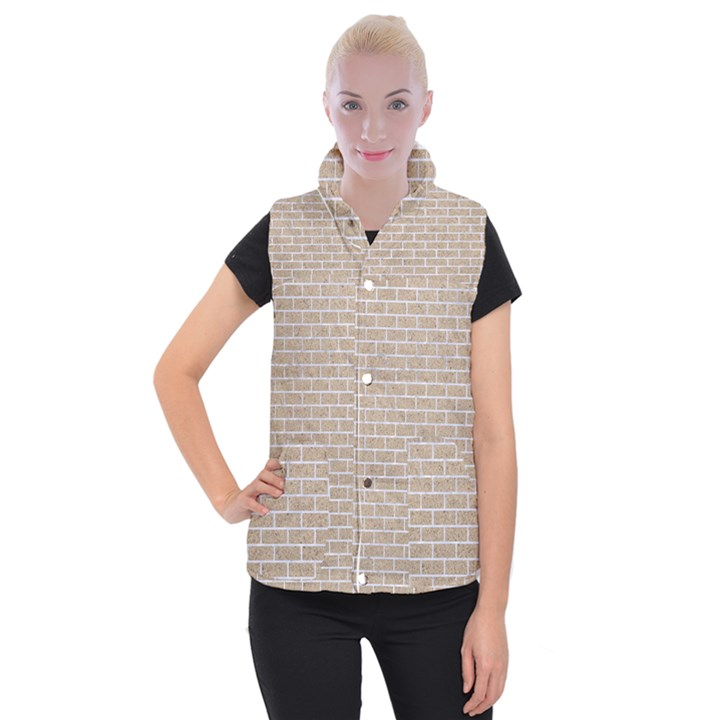 BRICK1 WHITE MARBLE & SAND Women s Button Up Vest