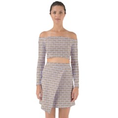 Brick1 White Marble & Sand Off Shoulder Top With Skirt Set