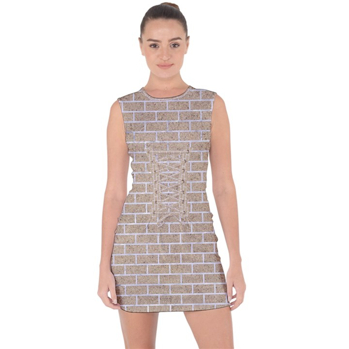 BRICK1 WHITE MARBLE & SAND Lace Up Front Bodycon Dress