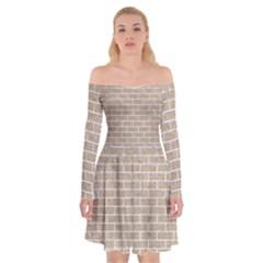 Brick1 White Marble & Sand Off Shoulder Skater Dress