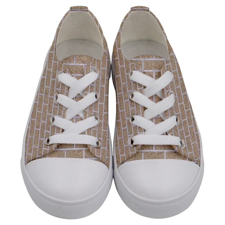 BRICK1 WHITE MARBLE & SAND Kids  Low Top Canvas Sneakers