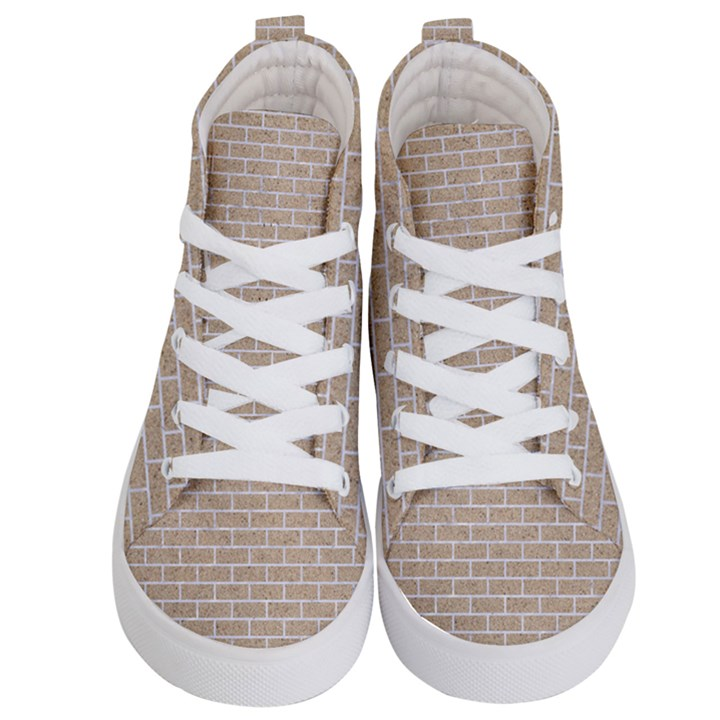 BRICK1 WHITE MARBLE & SAND Kid s Hi-Top Skate Sneakers