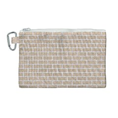 Brick1 White Marble & Sand Canvas Cosmetic Bag (large)