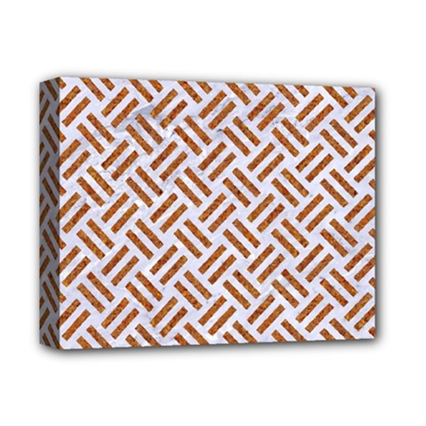 WOVEN2 WHITE MARBLE & RUSTED METAL (R) Deluxe Canvas 14  x 11