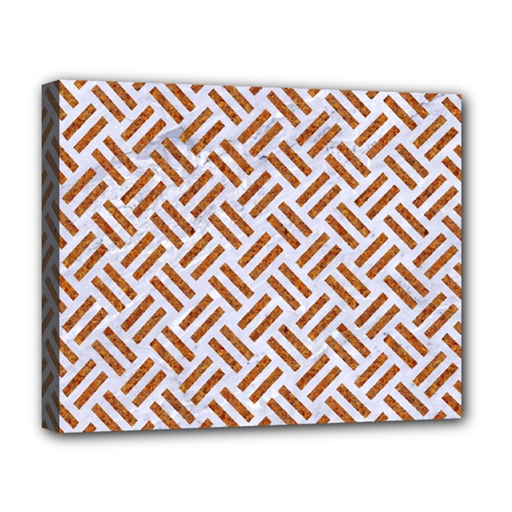WOVEN2 WHITE MARBLE & RUSTED METAL (R) Deluxe Canvas 20  x 16