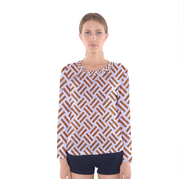 WOVEN2 WHITE MARBLE & RUSTED METAL (R) Women s Long Sleeve Tee