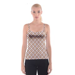 Woven2 White Marble & Rusted Metal (r) Spaghetti Strap Top