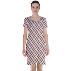 WOVEN2 WHITE MARBLE & RUSTED METAL (R) Short Sleeve Nightdress