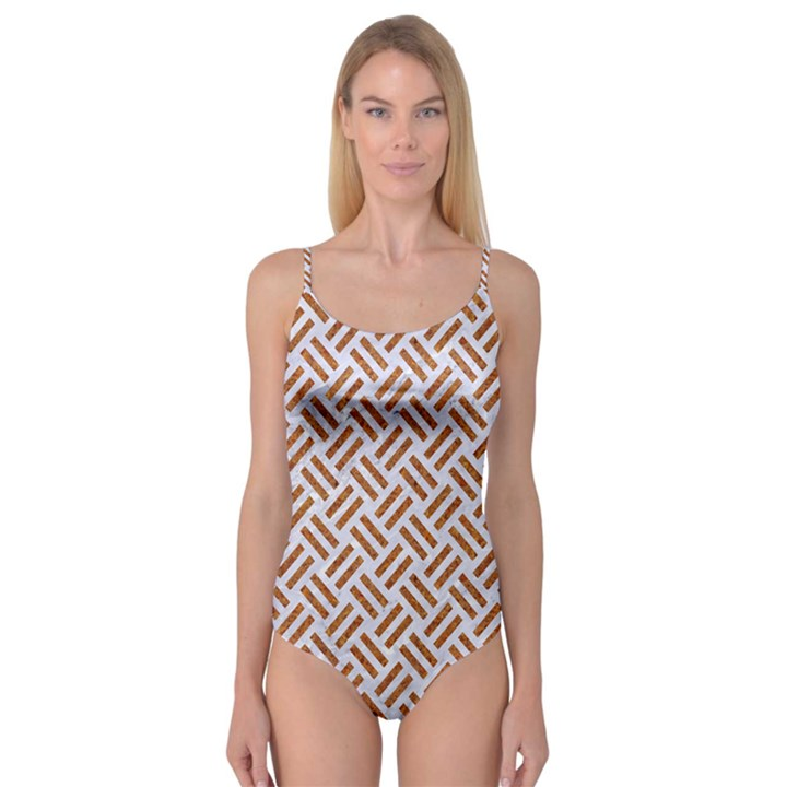 WOVEN2 WHITE MARBLE & RUSTED METAL (R) Camisole Leotard