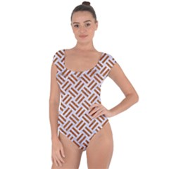 WOVEN2 WHITE MARBLE & RUSTED METAL (R) Short Sleeve Leotard